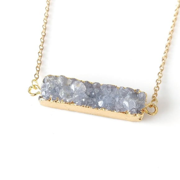 Jewelry - Gold-plated genuine agate druzy bar necklace